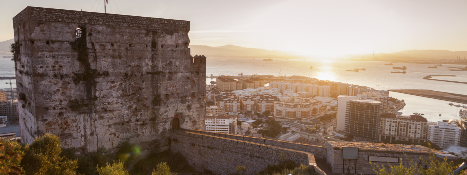 Panorama of Gibraltar at sunset. Moorish Castle Gibraltar.